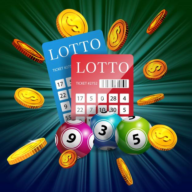 winning lottery tickets, balls and money