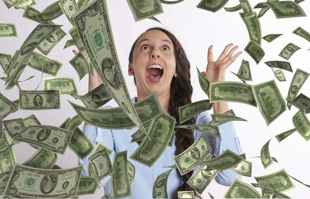 woman happy winning money